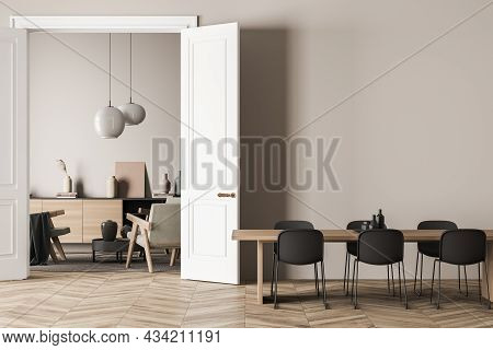 Bright Living Room Interior With Three Armchairs, Six Chairs, Dining Table, Carpet, Doors, Sideboard