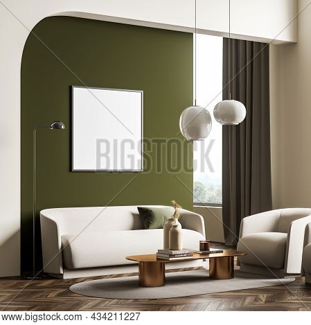 Corner Of The Living Room Interior With A Mockup Frame And Green And Beige Design, Using A Sofa, An