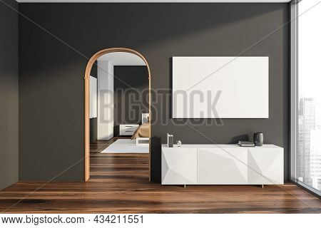 Dark Bedroom Interior With Empty White Poster, Sideboard, Arch, Panoramic Window, Large Bed, Bedside