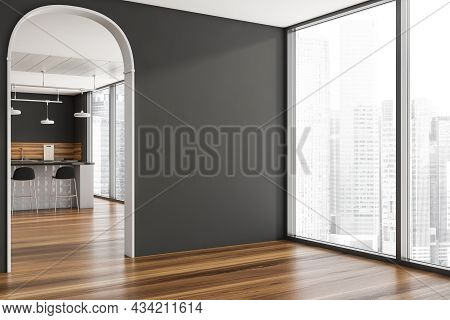 Corner Of The Grey Interior With An Archway, A Floor-to-ceiling Window, An Empty Wall And A Stylish