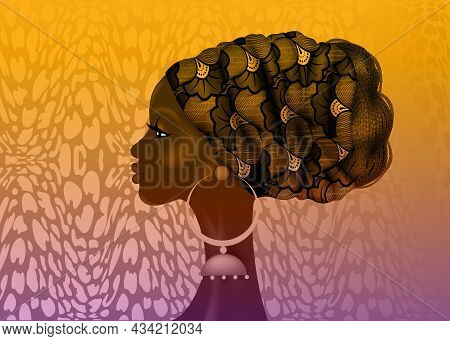 Afro hairstyle, beautiful portrait African woman in wax print fabric turban, diversity concept. Black Queen, ethnic head tie for afro braids and kinky curly hair. Vector isolated on colorful background