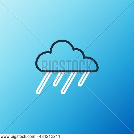 Line Cloud With Rain Icon Isolated On Blue Background. Rain Cloud Precipitation With Rain Drops. Col