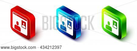 Isometric Video Chat Conference Icon Isolated On White Background. Computer With Video Chat Interfac