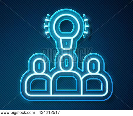 Glowing Neon Line Project Team Base Icon Isolated On Blue Background. Business Analysis And Planning