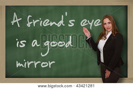 Teacher Showing A Friend's Eye Is A Good Mirror On Blackboard