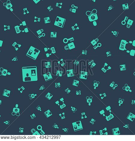 Set Lock With Key, Friends Forever, Video Chat Conference And Bff Best Friends On Seamless Pattern.
