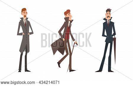 Victorian Gentleman In Elegant Suit With Respectful Manner Standing Vector Set
