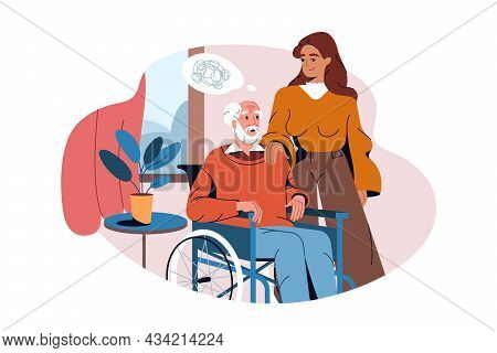 Flat Old Man Suffer From Dementia Or Alzheimers Disease. Young Woman Volunteer Or Social Worker Care