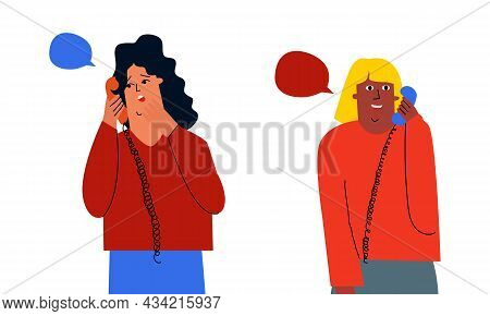 Two Friends Are Talking On The Phone. Gossip, Discussions On The Phone. Discussing News Between Frie