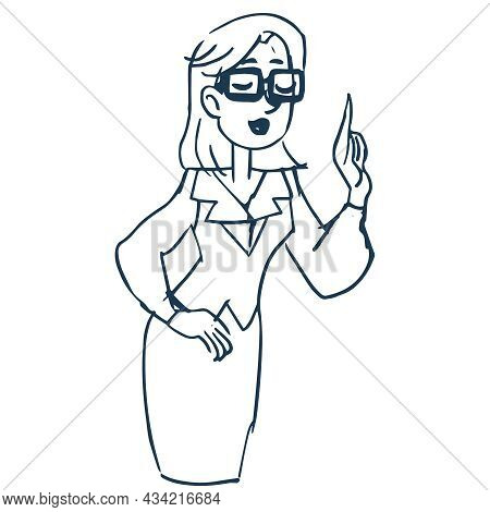 A Girl With Glasses Speaks And Gesticulates With Her Hand. Figure Teacher Or Businessman Or Bank Emp