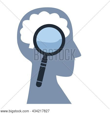 The Concept Of Studying The Brain. Magnifier Is Aimed At The Silhouette Of A Man S Head. Vector Logo