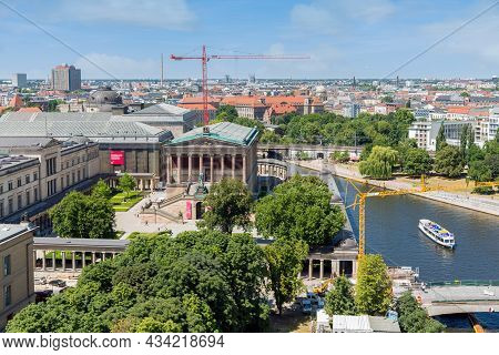 Berlin, Germany - Juli 22, 2013: Aerial View From Berliner Dom At Museum Island With Alte Nationalga