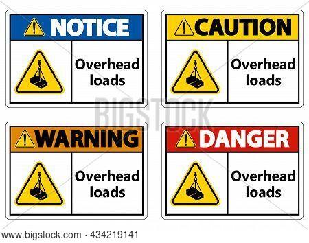 Danger, Overhead Load Text, Falling Hazard Risk Caution Warning Sign
