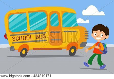 Kids Walking To And Getting On School Bus. Driver Waving Hand To Pupils. Colorful Flat Style Cartoon