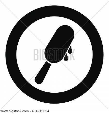 Popsicle Ice Lolly Ice Cream On Stick Icon In Circle Round Black Color Vector Illustration Solid Out
