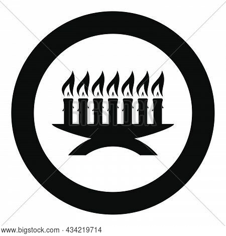 Kwanzaa Candles Glowing African Holiday Seven Candle On Candlestick American Ethnic Cultural Holiday