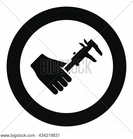 Calliper In Hand Caliper In Arm Measuring Device Measure Use Icon In Circle Round Black Color Vector