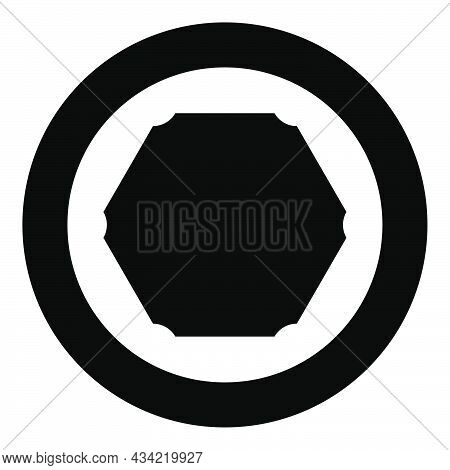 Hexagon Banner Hexagonal Six Rounded Corner Blank Mockup Icon In Circle Round Black Color Vector Ill