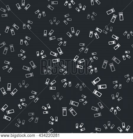 Grey Cartridges Icon Isolated Seamless Pattern On Black Background. Shotgun Hunting Firearms Cartrid