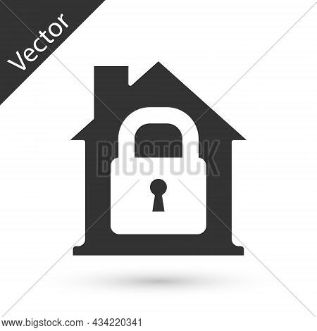 Grey House Under Protection Icon Isolated On White Background. Home And Lock. Protection, Safety, Se
