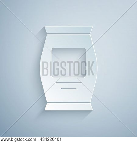 Paper Cut Fertilizer Bag Icon Isolated On Grey Background. Paper Art Style. Vector