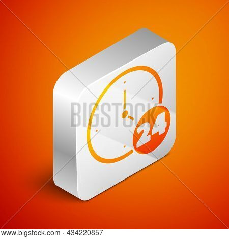 Isometric Clock 24 Hours Icon Isolated On Orange Background. All Day Cyclic Icon. 24 Hours Service S