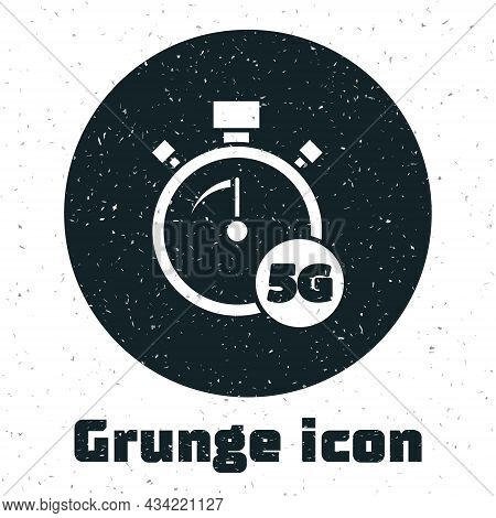 Grunge Digital Speed Meter Concept With 5g Icon Isolated On White Background. Global Network High Sp