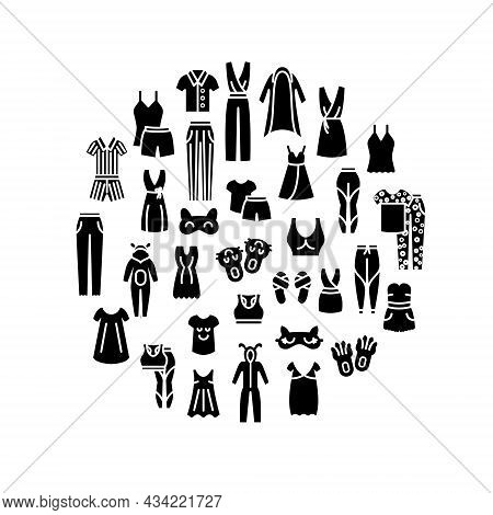 Comfortable Domestic Clothes Circle Glyph Layout. Homewear And Sleepwear. Comfy Garment. Slippers, S