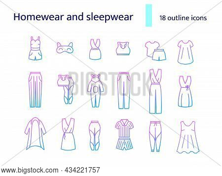 Homewear And Sleepwear Outline Icons Set. Comfortable Clothes. Bathrobe, Domestic Dress. Slippers, S
