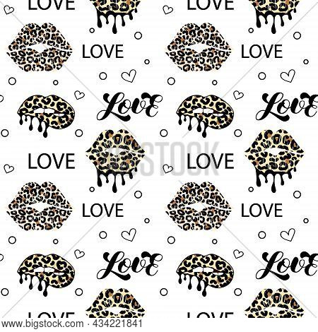 Kissing And Biting Lips With Leopard Print. Melting Lipstick. Seamless Pattern. Love Lettering. Drip
