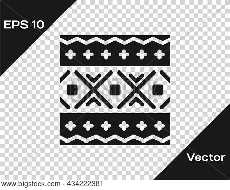 Black Ukrainian Ethnic Pattern For Embroidery Icon Isolated On Transparent Background. Traditional F
