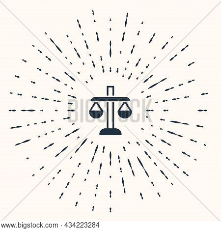 Grey Scales Of Justice Icon Isolated On Beige Background. Court Of Law Symbol. Balance Scale Sign. A