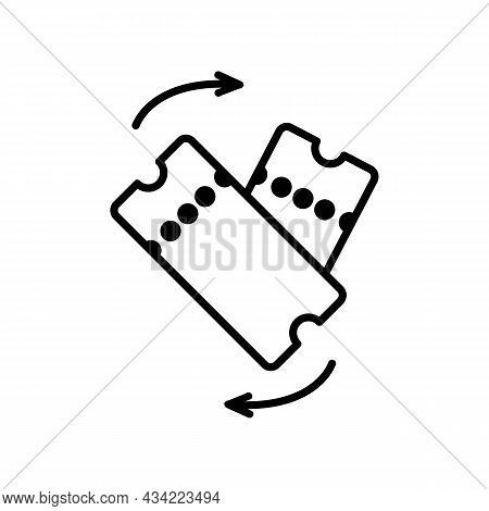 Return Tickets Black Line Icon On White Background. Trendy Flat Isolated Outline Symbol, Sign Can Be
