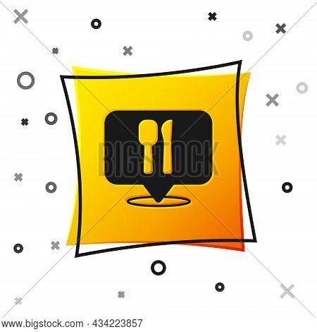 Black Cafe And Restaurant Location Icon Isolated On White Background. Fork And Spoon Eatery Sign Ins