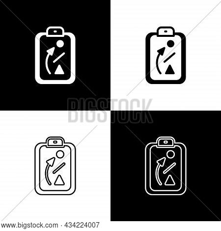 Set Planning Strategy Concept Icon Isolated On Black And White Background. Baseball Cup Formation An