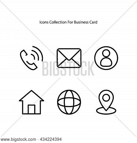 Essential Icons Set For Business Card. Line Icon Element For Business Card Design Template. Icons Co