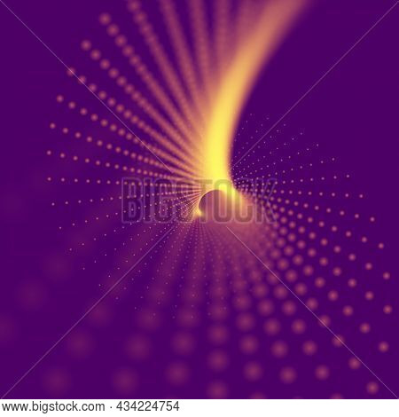 Abstract Particle Background Made Of Particles With Depth Of Field. Technology Vector Illustration.