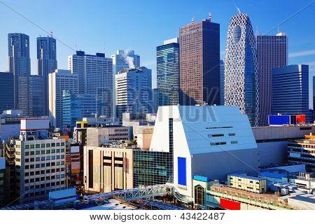 Dense buildings in Shinjuku Ward, Tokyo, Japan. Shinjuku is the main skyscraper district of the city.