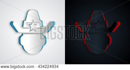 Paper Cut Sheriff Cowboy Hat With Star Badge Icon Isolated On Grey And Black Background. Police Offi