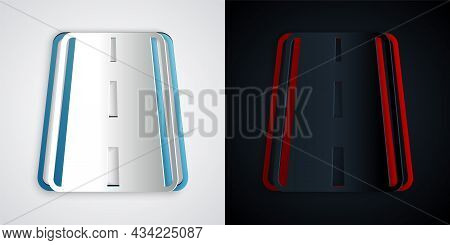 Paper Cut Airport Runway For Taking Off And Landing Aircrafts Icon Isolated On Grey And Black Backgr