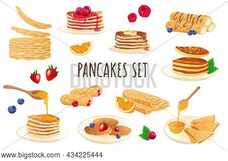 Pancakes Icon Set In Realistic 3d Design. Bundle Of Stacks Of Pancakes With Different Filling, Berri