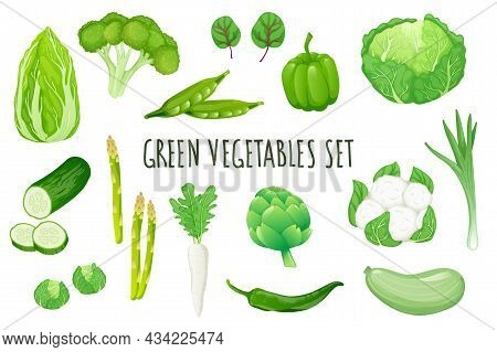 Green Vegetables Icon Set In Realistic 3d Design. Bundle Of Cabbage, Broccoli, Peas, Pepper, Cucumbe