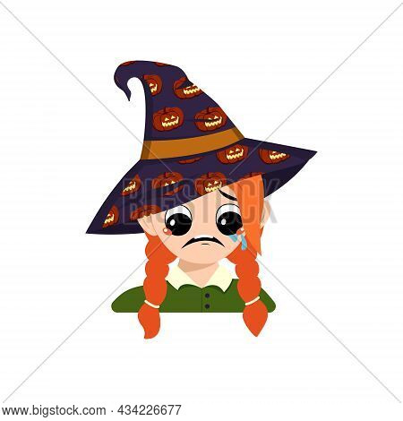 Girl With Big Eyes And Depressive Emotion, Crying, Tears Face In A Pointed Witch Hat With Pumpkin. T