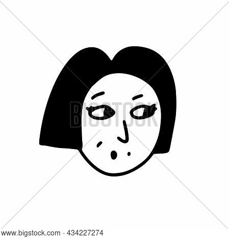 Doodle Positive Girl Face. Hand-drawn Outline Human Isolated On White Background. Funny Surprised Av