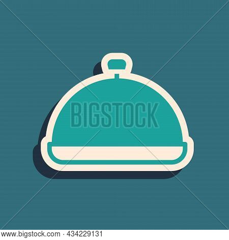 Green Covered With A Tray Of Food Icon Isolated On Green Background. Tray And Lid Sign. Restaurant C