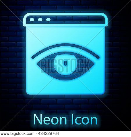 Glowing Neon Browser Incognito Window Icon Isolated On Brick Wall Background. Vector