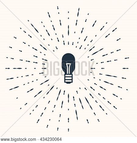 Grey Light Bulb With Concept Of Idea Icon Isolated On Beige Background. Energy And Idea Symbol. Insp