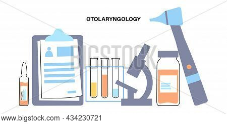 Otolaryngology Clinic Poster. Test Of The Human Hearing, Audiology And Otoscopy Concept. Otoscope An