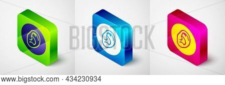 Isometric Ear Listen Sound Signal Icon Isolated On Grey Background. Ear Hearing. Square Button. Vect