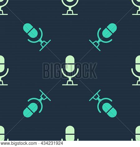Green And Beige Microphone Voice Device Icon Isolated Seamless Pattern On Blue Background. Microphon